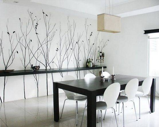Dining room with wall mural of trees and countryside in folk art style