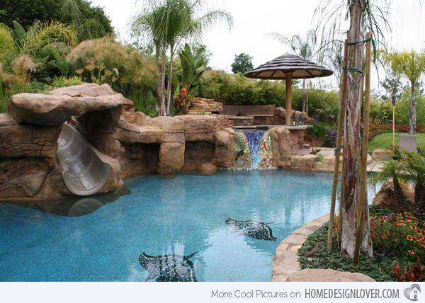 swimming pool designs with slides