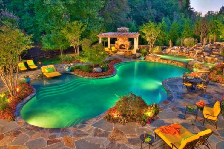 Swimming Pool : Striking Oval Shape Backyard Pool Design Ideas With  Concrete Paving Deck Floor Plus Blue Slide Also Red Patio Umbrella Cool Swimming  Pool