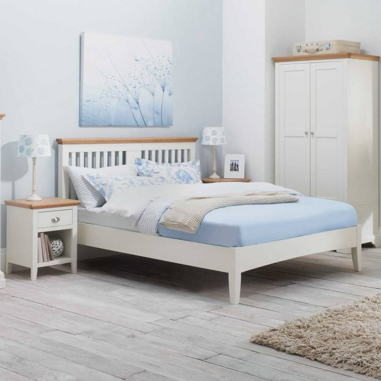 cream and wood bedroom furniture