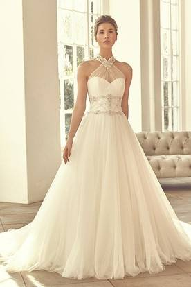 Sheath High Neck Lace Jersey Illusion Wedding Dress With Appliques