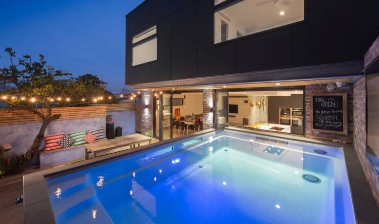 This modern design of the pool house was built artillery for a client in  Melbourne, Victoria, Australia