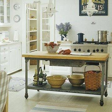 Traditional kitchen with large island table
