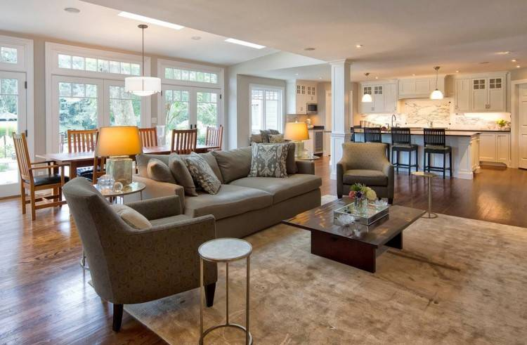 open floor plan living room ideas this neutral family room is open to the  dining room