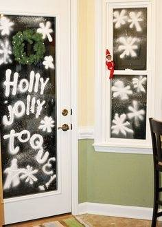 Buy a spray snow paint and some stencils to decorate your bedroom windows