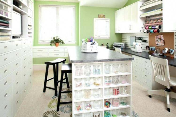 an organized craft closet with lots of clever storage ideas