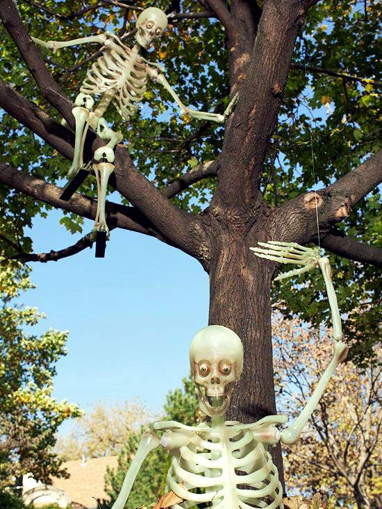 Here are some frighteningly fun Halloween decoration ideas for your yard  including a graveyard, ghouls, zombies, skeletons, witches, black cats &  more