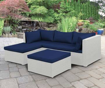 A comfortable Hularo Weave lounge suite in Pure with all weather cushions