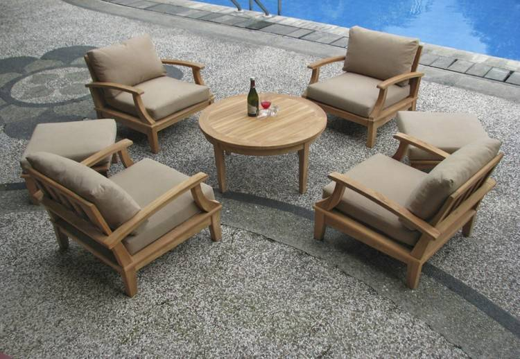 com: 4pc Gili Teak Outdoor Patio Seating Set Furniture By Azzurro  Living: Patio, Lawn & Garden