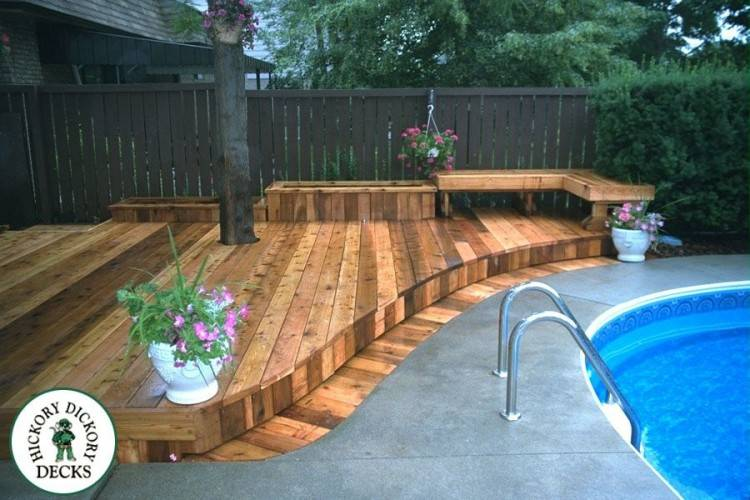 deck around pool ideas above ground decks designs pools slide composite decking  pictures for level c