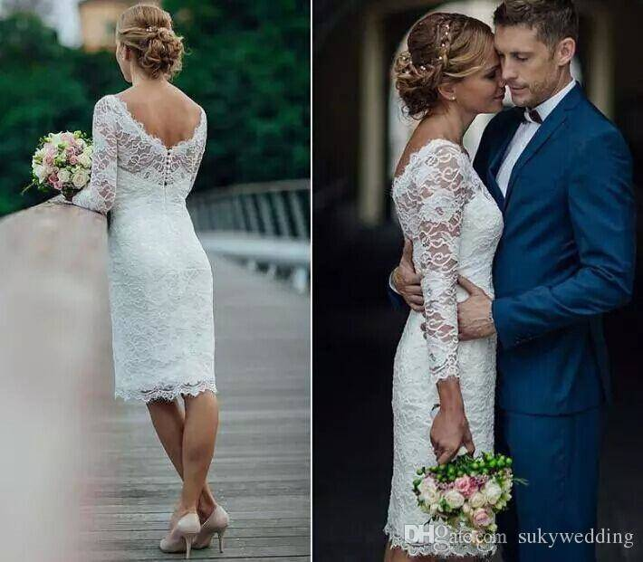 2018 Elegant Short Summer Lace Wedding Dresses Knee Length Simple White Ivory  Short Sheath Wedding Dresses Bridal Gowns With Long Sleeves Lace For Wedding