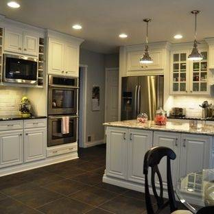 Colorful Natural Stone Slate Kitchen Tile Flooring With Tiny Bowl Over  Small White Wooden Chair