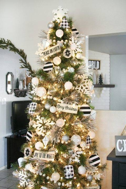 Rustic Modern · white christmas tree with blush and white decorations