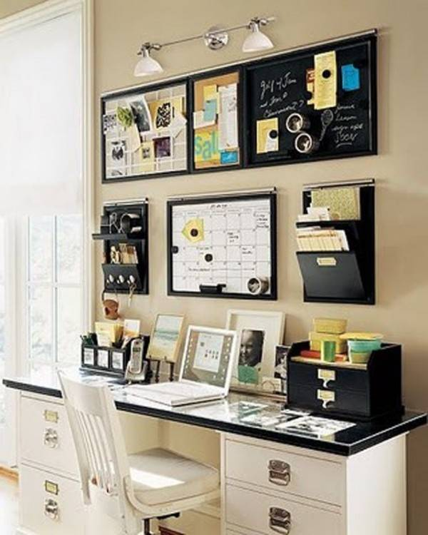 modern orange and white home office with creative wallpaper
