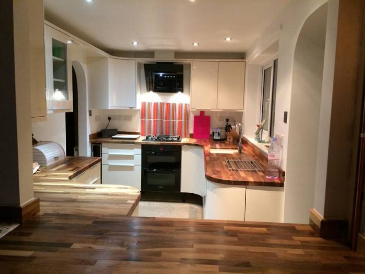 cream and dark wood kitchens