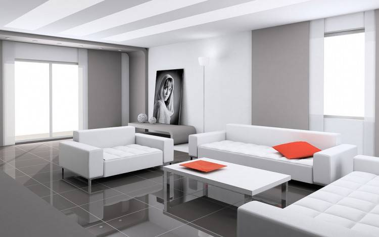 The monochrome painting pairs perfectly with the black couch  and modern