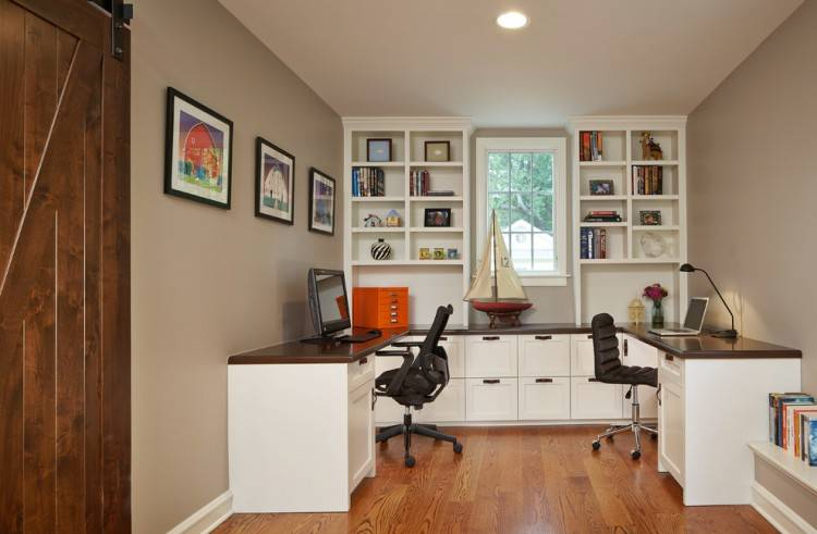 Comfy Home Office Design For Two People Ideas: Traditional Office Ideas  With Two Chairs And Grey Desk Design Also White Window Frame ~ miclinks