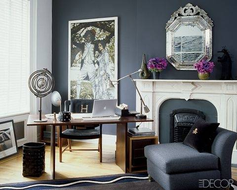 Gorgeous black and white home office with window seat and a craft  closet [From: