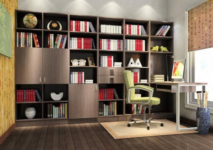 or a curved desk in a corner of the room
