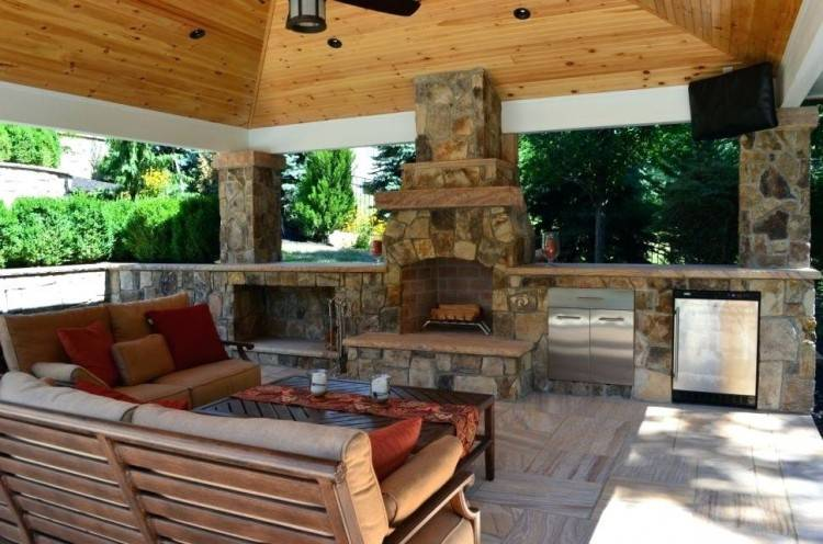 Outdoor Patio And Backyard Medium size Corner Fireplace Patio Covered Pizza  Oven Kitchen Outdoor Fireplaces Ideas