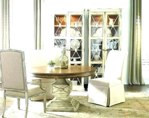 COLLECTION ONE Jefferson Leg Dining Table shown with the Jefferson  Upholstered Side Chairs and the Jefferson Display Cabinet by A