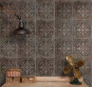 Pressed Metal makes a wonderful alternative to tiles in the bathroom