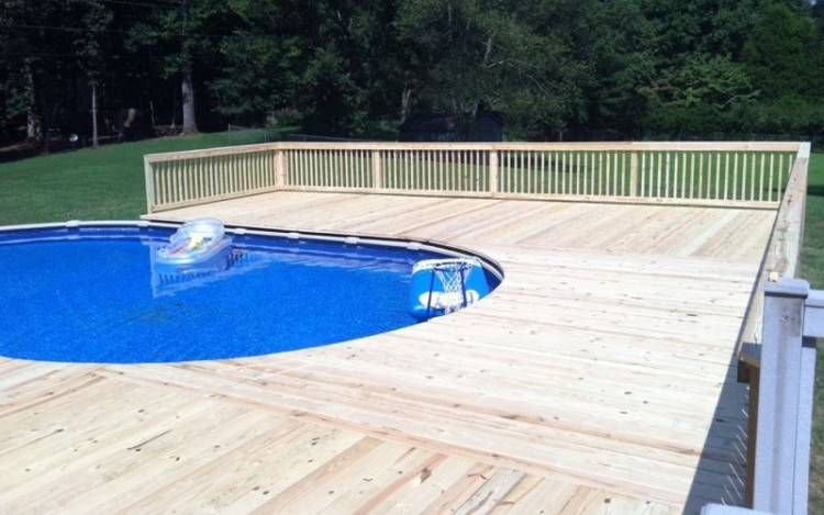 deck around pool building a wooden