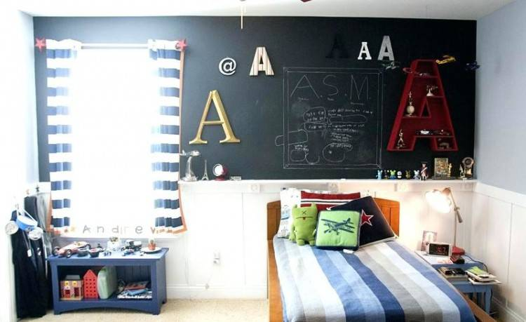 Cozy reading nook in the bedroom with a chalkboard wall [Design: Simply  Unique Finds