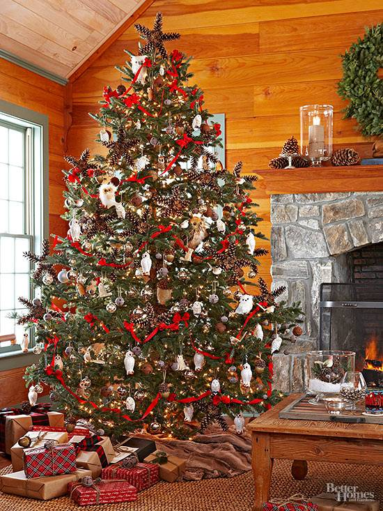 Here's a great tutorial at Remodelaholics on using ribbons and Dollar Store  ornaments to decorate a Christmas tree