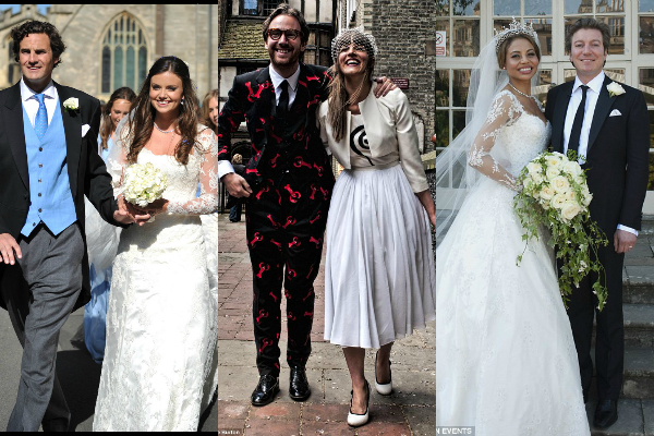 Viscount Weymouth, Ceawlin Thynn, with his bride Emma McQuiston, daughter  of a Nigerian oil tycoon
