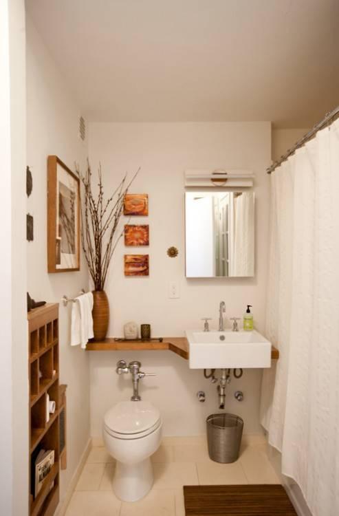 With White Countertop Plus Large Frameless Wall Mirror And Unique  Bathroom Tiles Floor Home Staging and Decorating, Small Bathroom Decorating  Ideas