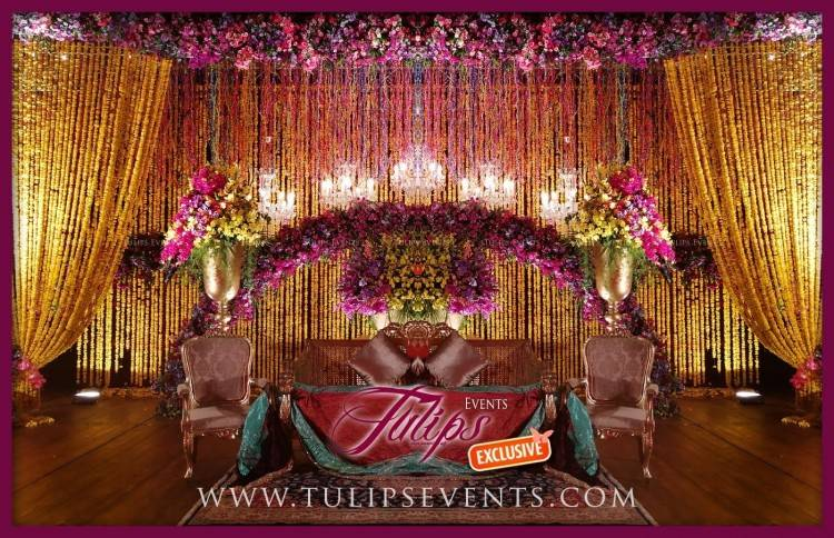Red Gold Pakistani Baraat Stage Floral Backdrop ideas in Pakistan  03