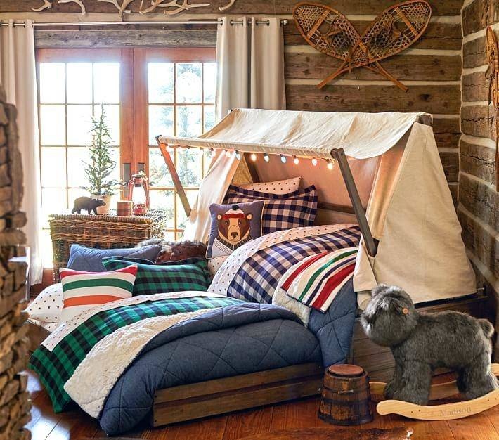 log cabin themed bedroom wall decor home unique