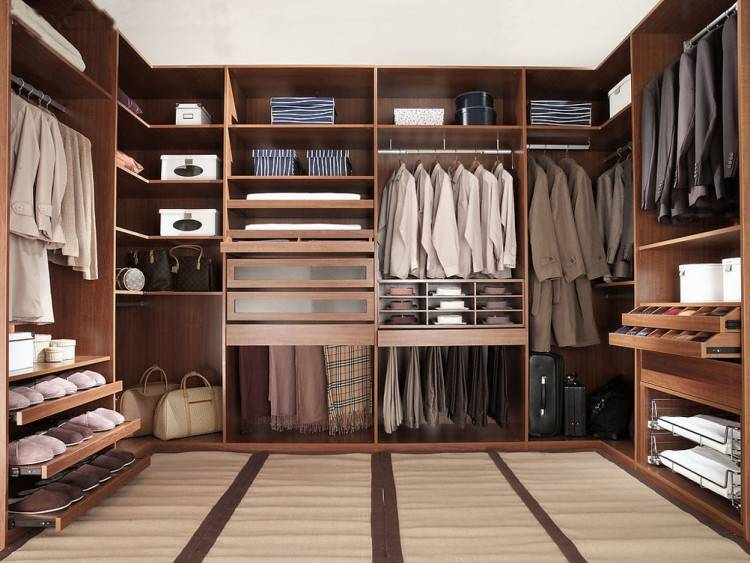 U Shaped Walk In Coset Design Ideas With Four Rods Opened Shelving Basket  Boxes Glass
