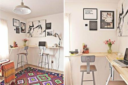 Cozy Custom Home Office Designs With Unique L Shaped Shelf With Small  Rectangle Wooden Table