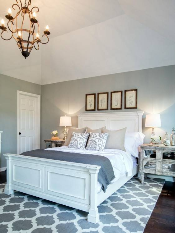 Neutral Master Bedroom, French style, Restoration Hardware bedding, Pottery  Barn bedding, French bench, chandelier, painted furniture, antique French