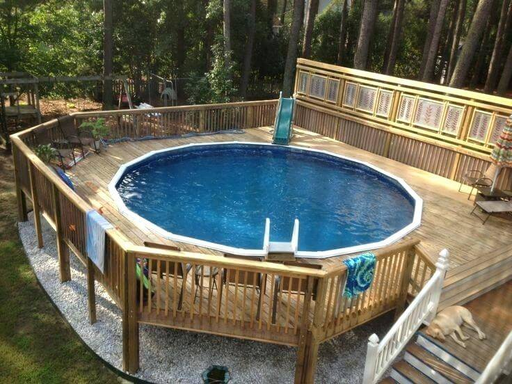 out pool, Above  ground pool with wrap around deck
