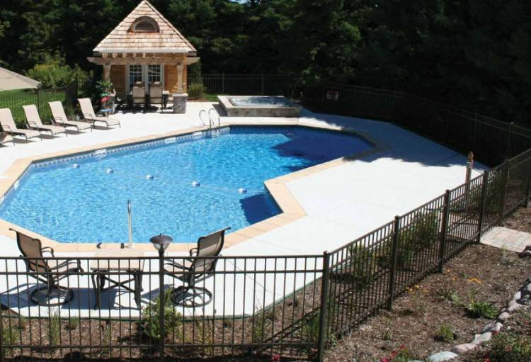The platform in this pool can be reached by means of the steps that lead  from the main pool deck, from the hot tub, or by swimming up to it