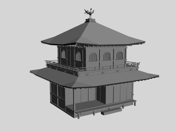 Highly detailed 3d model of beautiful wooden house elevation design