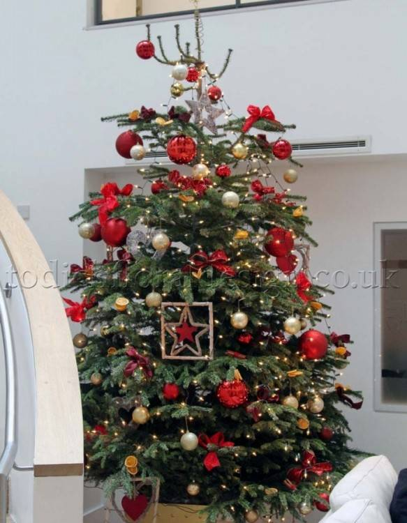 green tree with red bows and gold  ball ornaments with gold ting ting