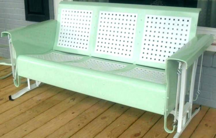iron glider bench custom metal outdoor glider with cushions included choose  your own color cast iron