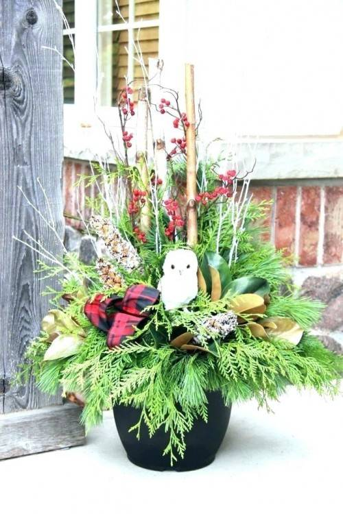 Flower pot filled with gathered greens as a decoration