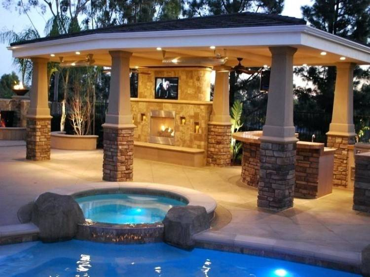 Backyard Landscaping Simple And Neat Home Exterior Decoration Using  Inground Pool Decks : Great Image Of Home Exterior
