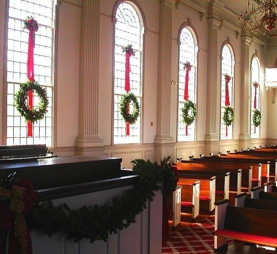 Give the beautifully handcrafted Christmas garlands and wreaths a special  place at the Church sanctuary stage windows