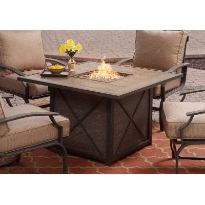 BuyLG Outdoor Casablanca 6 Seater Garden Round Table Dining Set with Firepit,  Charcoal Online at