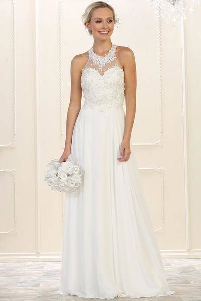 Lace Appliques Cap Sleeves Chiffon Beach Wedding Dresses With Slit