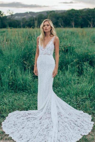 Kitty Chen 2018 New Mermaid Lace Wedding Dresses V Neck Crystals Beaded  Appliques Sexy Backless Garden Beach Bridal Wedding Gowns BA1674 Vintage  Mermaid
