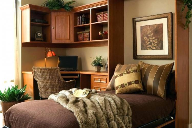 Home Office Ideas : Beautiful Small Murphy Bed Ideas With Corner Wooden Home  Office Furniture Besides L Shaped Wood Office Desk Plus Red Classic Leather