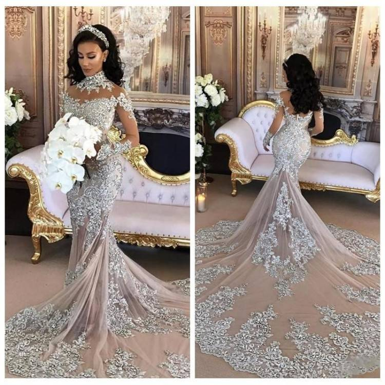 Long High Neck Beaded Tulle Wedding Dress With Court Train And Straps