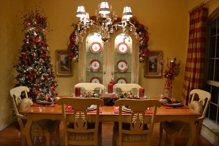 Christmas decorations around a dining table